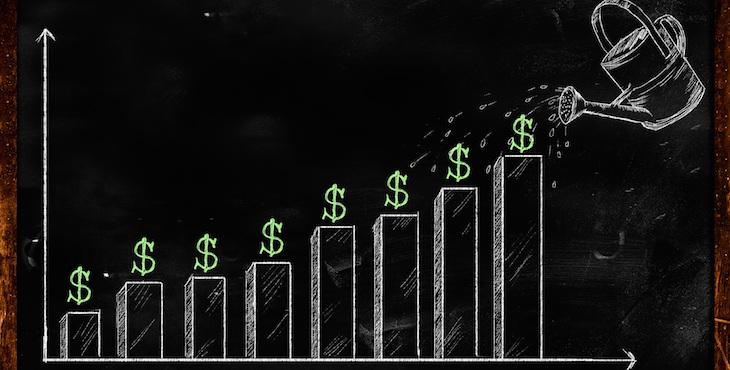 Growing Dollar Sketch on Blackboard
